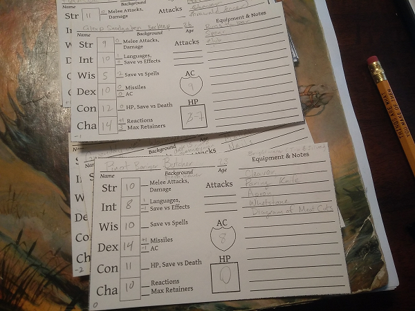Picture of Index-card character sheets